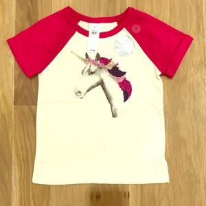NWT!!! Sml girls GAP unicorn flip sequin s/s ragla